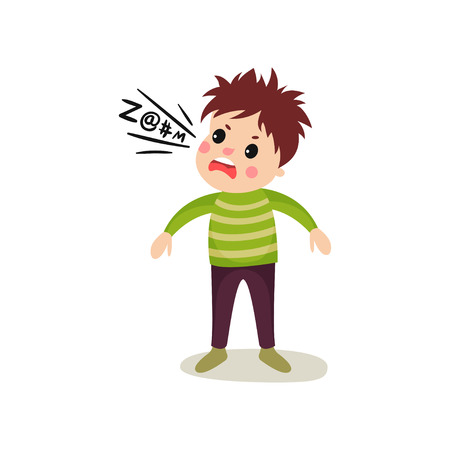 Little child gets mad and loudly swears. Dirty language. Cartoon character of kid with bad habit. Bully boy face showing angry emotion. Vector illustration in flat style isolated on white background.