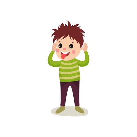 元気な子供が手を上げて立っている。少年は顔を作って舌を突き出している。フラットスタイルで狂気の髪のキャラクターとフラット漫画のいたず