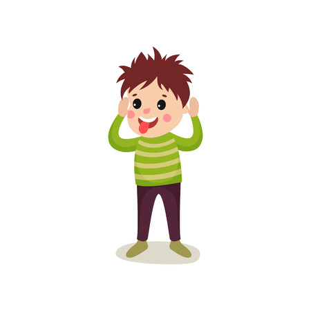 Cheerful kid standing with hands up. Boy making face and sticking out his tongue. Flat cartoon naughty child with crazy hair character in flat style. Vector illustration isolated on white background. Ilustração