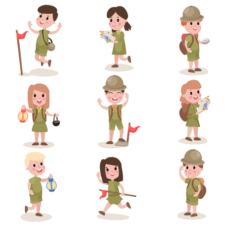 Set of boys and girls scouts with hiking equipment, summer camp activities. Ilustracja