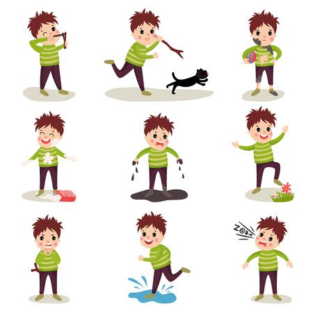 Personaje De Dibujos Animados De Niño Con La Cara Fangosa En