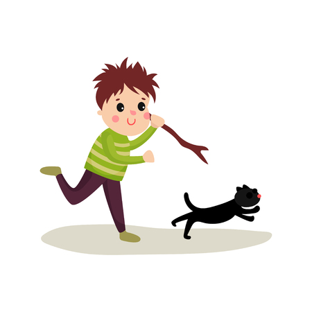 Rude boy running after cat with stick in his hand. Evil child. Teenage bully demonstrating mischievous uncontrollable behavior. Cartoon bad kid character. Flat vector illustration isolated on white. Illustration