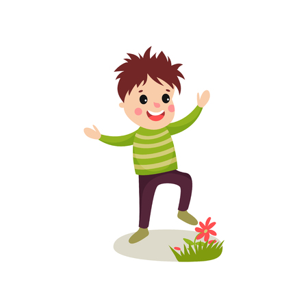 Bully kid playing on green lawn and treading flowers. Cartoon character of naughty boy with bad behavior. Restless person. Childish vector illustration in flat style isolated on white background.