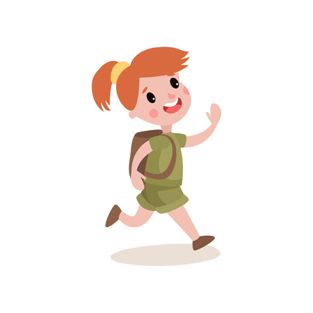 relay: Red-haired girl scout running with cheerful face expression. Kid cartoon character dressed in khaki uniform, backpack on her back. Summer camp and leisure activities. Flat design vector illustration.