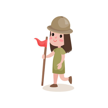 relay: Girl scout character running with flag in hand, summer camp activities. Illustration