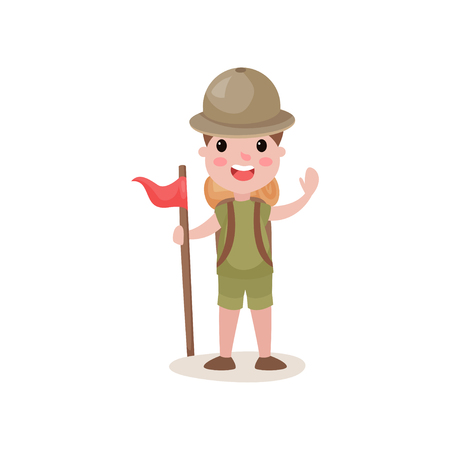 relay: Flat boy scout standing with red flag and waving hand, summer camp activities. Illustration