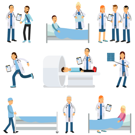 Flat vector characters set of medical workers and sick people in different situations.