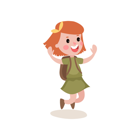 scouting: Joyful little kid jumping with hands up isolated