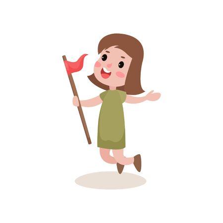khaki: Joyful kid jumping with red flag in hand