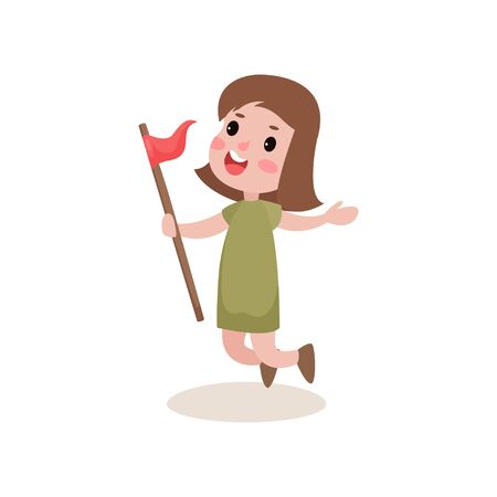 Joyful kid jumping with red flag in hand