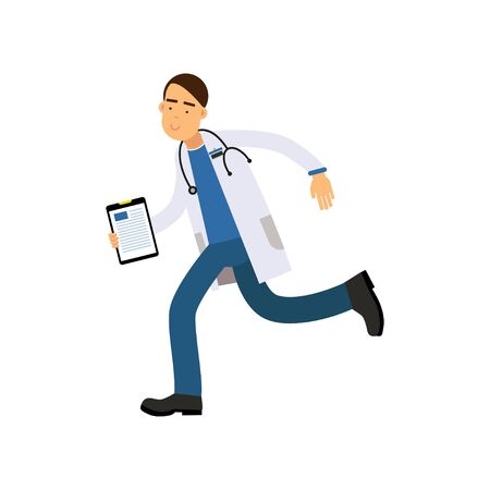 Cartoon male doctor in white medical robe with clipboard in hand running fast to his patient Stock Photo