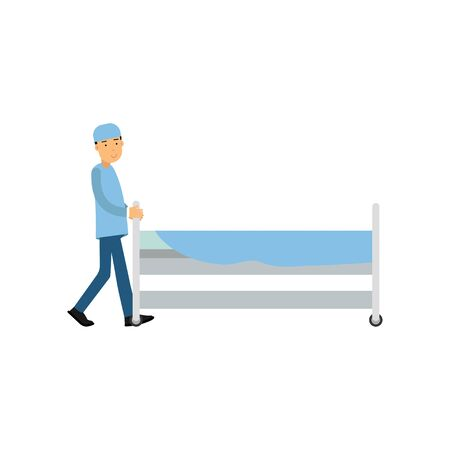 Cartoon medical orderly in blue uniform pushing hospital bed by corridor