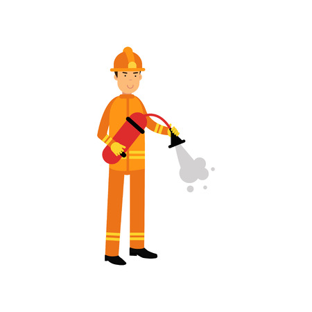 Fireman in orange uniform and protective helmet, spraying foam from fire extinguisher. Firefighter officer at work. Rescue worker male character.  Vector illustration isolated on white.