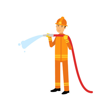 Fireman in uniform and protective helmet, holding hose extinguishing fire with water. Firefighter officer in protecting equipment at work. Rescue worker character. Vector isolated on white. Illustration