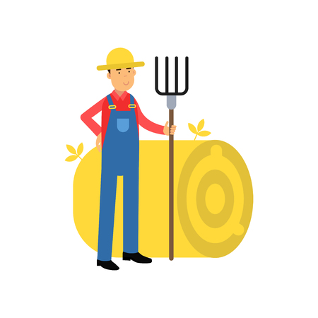 Happy farmer cartoon character in overalls standing next to haystack with pitchfork in his hands. Man at work. Fresh farm products. Agriculture concept. Flat vector illustration isolated on white. Illustration