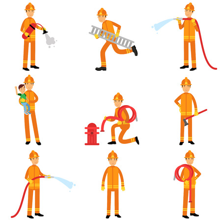Fireman in uniform and protective helmet doing their job set. Firefighter officer in protecting equipment at work. Extinguishing fire, helping people. Rescue worker male character. Vector on white. Illustration