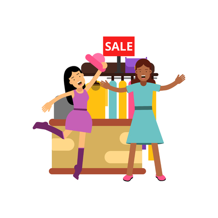 Female friends shopping at the clothing store, fighting over clothes on sale Illustration