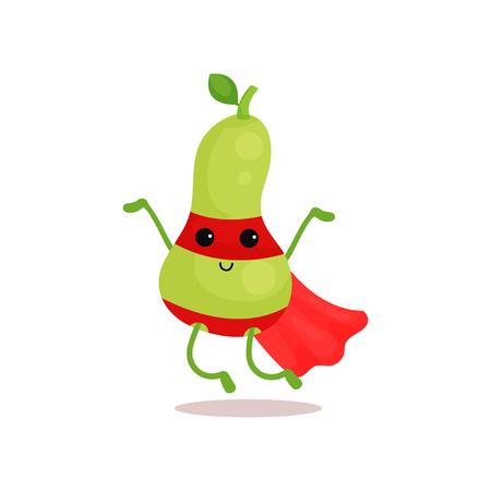 Ilustración de dibujos animados de fruta súper pera.