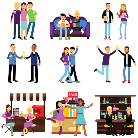 Groups of girls and boys best friends having good time together, flat characters set