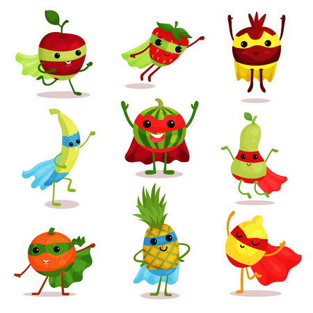 Vector illustration set of happy superhero fruit characters in different poses, card or print elements