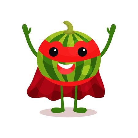 Personaje de dibujos animados alegre de sandía fruta de superhéroe de pie con las manos en alto Vectores