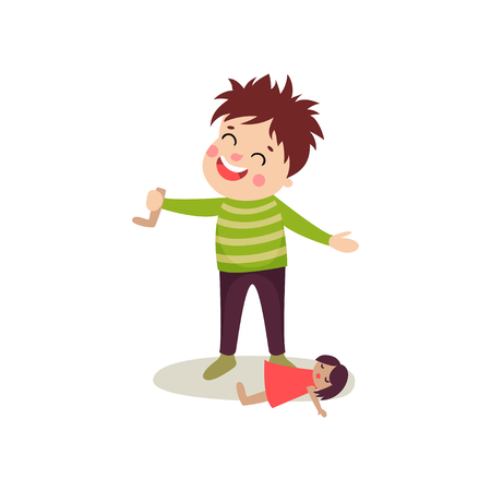 tore: Bad boy with happy face and crazy hair tore off doll s leg. Bully kid demonstrating mischievous uncontrollable behavior. Funny cartoon character. Flat style vector illustration isolated on white.