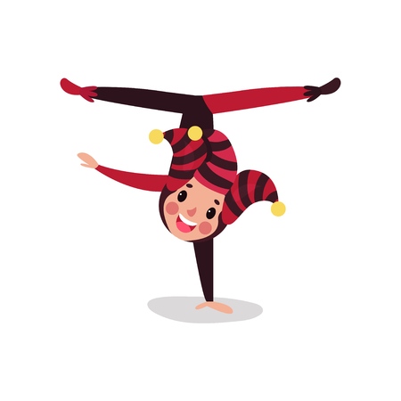 Joker cartoon character doing split upside down. Boy clown in black and red costume, cap and bells. Traditional jester or festival fool wear. Circus acrobatic performance. Vector isolated on white.