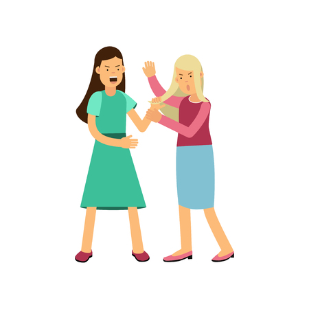 Cartoon flat vector illustration of furious woman drags young girl by hair and making loud public scandal