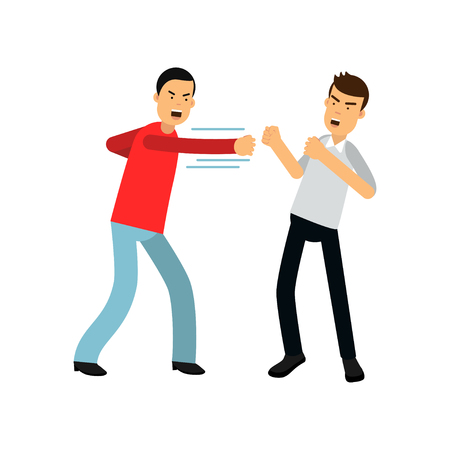 Flat cartoon man in red sweater attacking guy in gray shirt with fists. Aggressive and violent behavior.