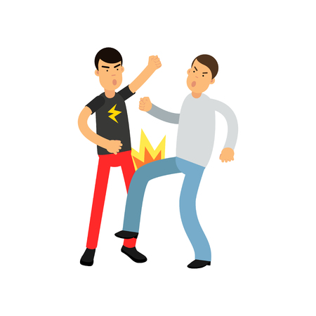 Flat vector illustration of angry man in gray sweater punches young guy in t-shirt with flash. Illustration