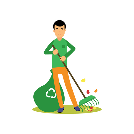 Man flat cartoon character cleaning and raking leaves, ecological lifestyle Illustration