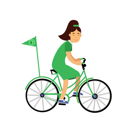 Cute girl character in green dress riding a bicycle with flag, ecological lifestyle promotion
