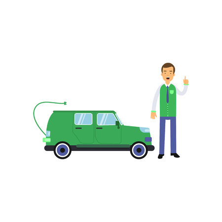 Happy man seller cartoon character standing with hand up and showing electric car, clean world concept