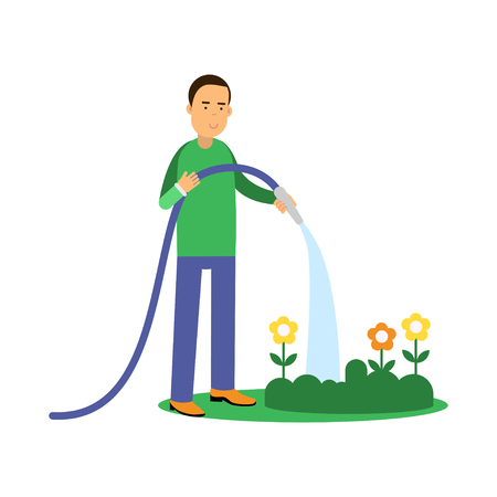 Happy man cartoon character watering flowers from a hose, ecological lifestyle concept