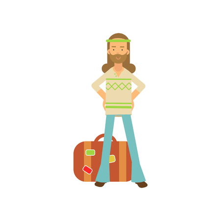 Flat cartoon bearded man hippie standing with arms akimbo near retro suitcase. Happy male in classic sixties hippy subculture clothes. Illustration