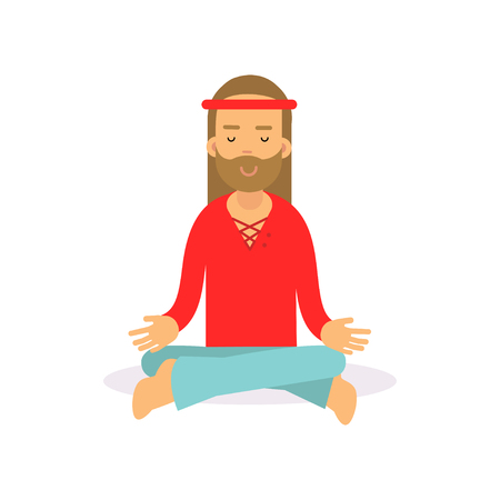 Flat cartoon bearded man hippie sitting in lotus pose, meditating. Male with long hair dressed in woodstock sixties hippy subculture clothes. Illustration