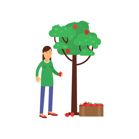 Smiling woman cartoon character harvesting from apple tree, ecological lifestyle concept