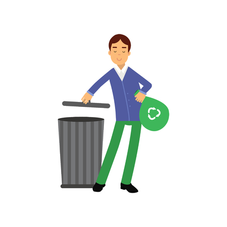Happy man cartoon character throwing garbage into the waste tank. Contributing into environment preservation. Waste sorting. Volunteering male, ecologically clean world. Flat vector isolated on white. Illustration