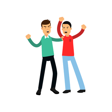 Flat vector illustration of two angry men in fighting pose isolated on white background. Aggressive and violent behavior.