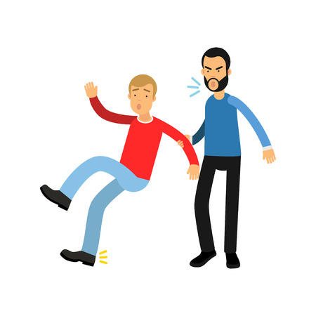 Aggressive bearded man grabbed young guy by hand and yells on him. Violent behavior concept. Illustration