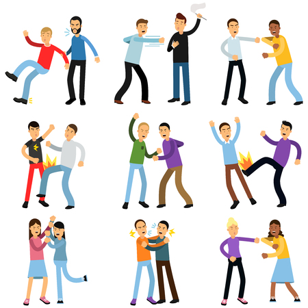 Cartoon flat characters of aggressive people in different fighting poses isolated on white background