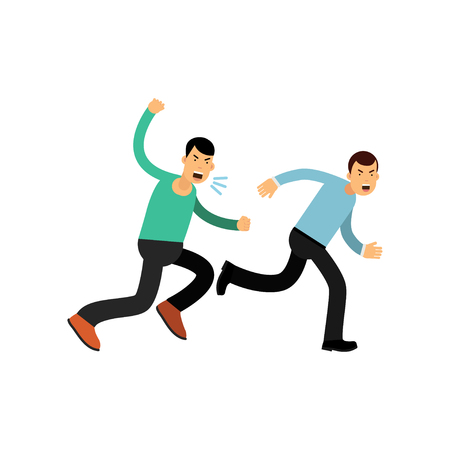 Cartoon illustration of man in blue sweater running away from angry guy. Aggressive and violent behavior. Illustration
