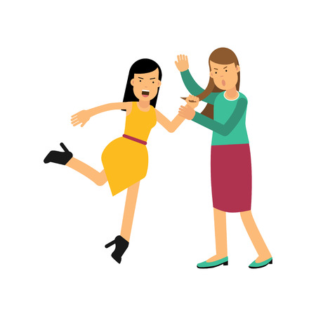 Cartoon angry woman character in yellow dress attacking young girl and drags her by hair