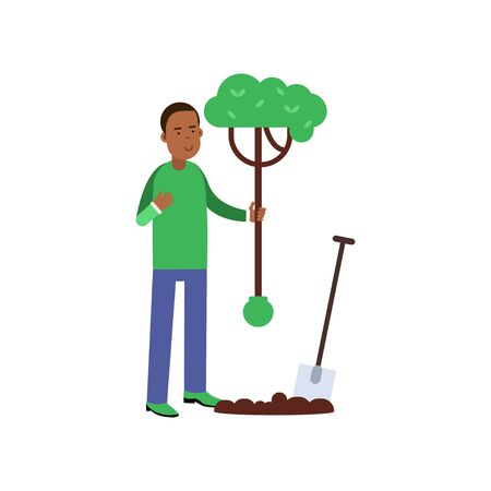 Man cartoon character planting a tree, contributing into environment preservation Illustration