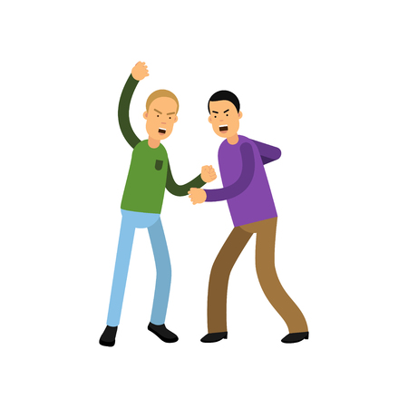 Flat vector illustration of two young men fighting with fists isolated on white background
