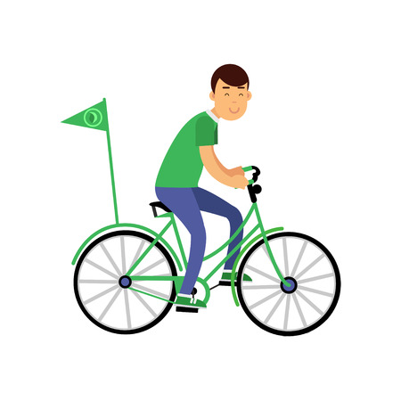 Cheerful young boy character in green t-shirt riding a bicycle with flag, environment preservation concept