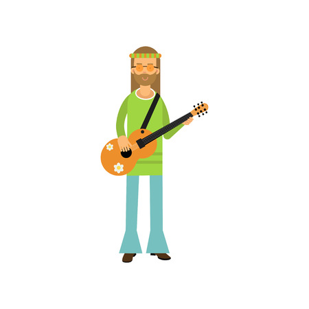 Flat cartoon man hippie standing with guitar. Carefree bearded male with long hair dressed in blue and green sixties hippy subculture clothes. Illustration