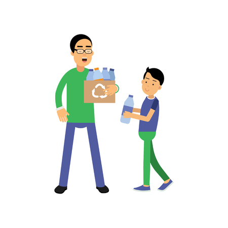 Father and son volunteers cartoon characters collecting plastic bottles for recycling, flat style Illustration
