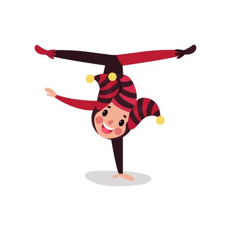 Joker cartoon character doing split upside down. Boy jester in black and red costume, cap and bells. Illustration