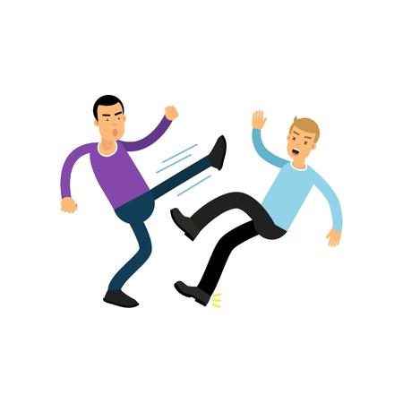 Cartoon flat irate man character in high kick pose beats guy in blue sweater, aggressive behavior Stock Photo